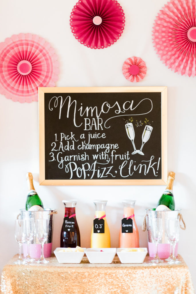 no bridal shower brunch is complete without a mimosa bar and dessert table